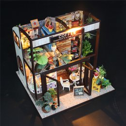 Wholesale Woods Motors - Wholesale-Hoomeda M027 Coffee House DIY Dollhouse With Music Motor Cover Light Miniature Model Toy Gift