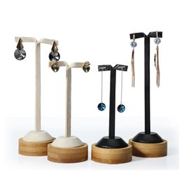 Wholesale Bamboo Counter - Jewellery Earring Display Prop Stand Bamboo Base Elegant Jewelry Exhibition Holder for Dangling Drop Earrings in Shop Counter Showcase