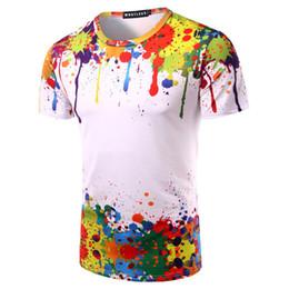 Ours de nouveauté en Ligne-Éclaboussures Peinture Tops D'été T-shirt Hommes À Manches Courtes Nouveauté Imprimé 3d T-Chemises Personnalité Col Rond T-shirts Zootop Ours