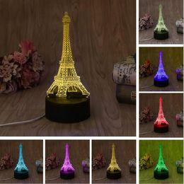 New 3D Fashion Romantic Francia Torre Eiffel LED Night Light RGB Variabile Mood Lampada Camera da letto Lampada da tavolo Kids Friends Famiglia Bambino Bambini Regali da