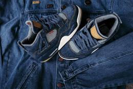 Wholesale Sail Shoes Men - (WithBox) LS x Air Retro 4 4s IV DENIM DENIM-SAIL-GAME RED VOILE ROUGE JEU Men Basketball Shoes retro 4s AO2571-401 sneakers