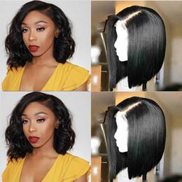 perucas de cabelo rainha Desconto Encantador Rainha Rendas Frente Perucas de Cabelo Humano Para As Mulheres Negras Pré Arrancadas Cabelo Virgem Brasileiro Ondulado Curto Bob Perucas Com o Cabelo Do Bebê