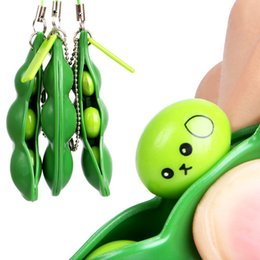 Wholesale fun keychains - New Creative Extrusion Pea Bean Soybean Edamame Stress Relieve Toy Keychain Cute Fun Key Chain Ring Paty Gift Bag Charms Trinket