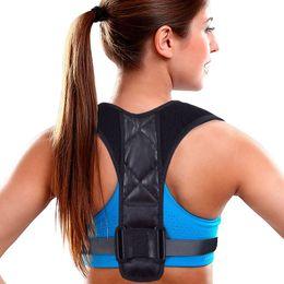 Cinturón de apoyo online-Correa de soporte corrector de postura para mujeres hombres para reparar el dolor de espalda superior clavícula torácica Cifosis rodillera