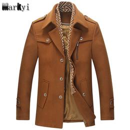 Bonnes marques de manteaux d'hiver en Ligne-MarKyi mode 2017 marque hiver hommes laine manteau caban de bonne qualité abaisser le collier mens long manteau, plus la taille 3xl
