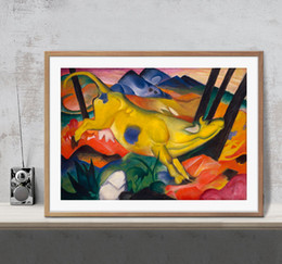 Wholesale marc painting - The Yellow Cow Painting Franz Marc Art Poster Wall Decor Pictures Art Print Home Decor Poster Unframe 16 24 36 47 Inches