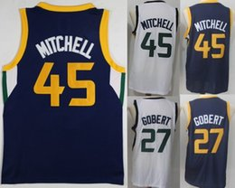 Wholesale Mixed Basketball Jersey - 2018 New Men 45 Donovan Mitchell 27 Rudy Gobert 100% Stitched Jerseys Fan version Cheap College mixed Order size S-XXL