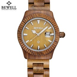 Wholesale Maple Watch - Bewell Auto Date Maple Bamboo Sanders Wood Watches Men Women Fashion Retro Wooden Quartz Couples Lovers' Watch Time Hour relojes
