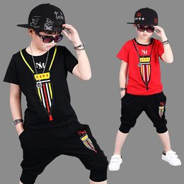 Wholesale Big Boys Outfits - Fashion Boys Outfit big Children Clothing Sets Summer T shirts Tops + Harem Half Pants 2piece Set Suits For Boy Red Black A8689