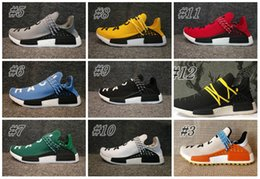 Wholesale Ink Cheap - Cheap 2018 NMD Human Race Pharrell Williams Hu trail NERD Men Women Running Shoes NMD noble ink core Black Red sports Shoes eur36-47