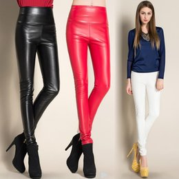 Wholesale Girls Black Leather Leggings - Autumn winter 2016 girls slim leggings sexy candy color leather pants women high waist pencil pants womens casual trousers