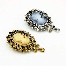 Wholesale Scarves Asian Wholesalers - New Arrival High Quality Antique Color Lady Cameo Brooch Stunning Exqusite Crystal Pendent Dangle Lady Corsage Classic Scarf Decoration Pins