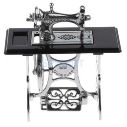 Wholesale Metal Dollhouses - Wholesale- 1:12 Dollhouse Miniature Black & Silver Sewing Machine Dolls House Furniture