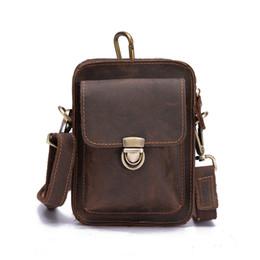 2019 saco de couro do quadril da cintura dos homens Homens de Couro Genuíno Pacotes de Cintura Do Vintage Pacote de Fanny Belt Loops Hip Bum Bag Saco Da Cintura Bolsa Do Telefone Móvel saco de couro do quadril da cintura dos homens barato