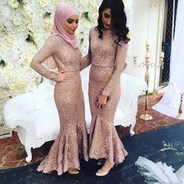Argentina 2018 Dusty Pink Lace nude mangas largas vestidos de dama de honor musulmán árabe mujeres vestidos formales más el tamaño sirena vestidos de fiesta de la boda cheap nude pink mermaid dress Suministro