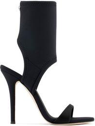 Zapatos personalizados de la boda online-2018 High top style nueva alfombra roja pasadizo hueco elástico elástico hueco zapatos de tacón alto personalizado impresión en color zapatos de boda
