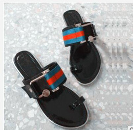 Wholesale Leather Sandals For Women - new arrival 2018 fashion striped slide sandals for womens summer outdoor beach causal flat rubber slippers