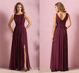 vinho barato vestido vermelho Desconto Elegante barato vinho tinto chiffon long beach vestidos de dama de honra vestido de festa de casamento para as mulheres dama de honra vestidos com divisão jóia pescoço hy165