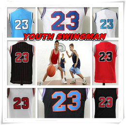 Wholesale michael shirts - YOUTH KID Children Stitched Swingman Christmas Birthday Gift Michael Tune Squad 23 shirt Throwback jerseys TOP Space Basketball Jerseys