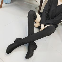 Discount female boots leather over knee - Fashion Women Boots Fashion Round Toe Ladies Suede Leather Boots Female Autumn Winter Woman Shoes Black Botas Hombre