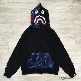 Wholesale hottest men s sweater fashion - 2017 Top Quality Hot A Bathing A Ape Bap FULL ZIP HOODIE Sweater Coat Shark Space Camo Half Face Full Zip Hoodie Men
