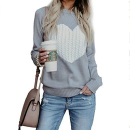 c5d0aba0a04ba apricot sweater Coupons - Women Sweater Heart Printed Sweaters Long Sleeve  Casual Pullover Winter Warm Top