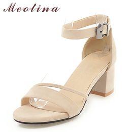 vente en gros sandales à talons chaussures d'été femme 2018 peep toe bloc talons bride à la cheville sandales beiges noir vente chaude plus la taille 33-43 ? partir de fabricateur