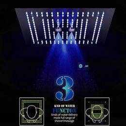 cortina led que cambia de color Rebajas LED Color de la lámpara Control remoto Cambio de tres funciones Empotrado Techo Cabezal de ducha Lluvia Cortina Masaje Baño Ducha Cabeza de acero inoxidable
