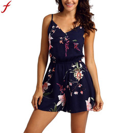 094e38462898 womens sleeveless short rompers 2019 - 2018 Floral Playsuit Casual Rompers  womens Summer Print Sleeveless Playsuit
