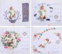 Wholesale Wholesale Print Fleece - Xmas 76*102CM newborn photography background props baby photo prop fleece floral deer printed backdrops infant swaddle blankets wraps soft