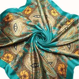 Wholesale Big Square Scarves - Newly Stylish 90cm*90cm Brand Female Green Scarf Women Polyester Silk Scarf Printed Design Satin Big Square Shawl Femme No283