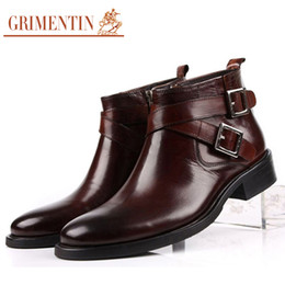 dress ankle boots for men Promo Codes - GRIMENTIN Hot sale brand mens boots genuine leather double buckle black brown men ankle boots for Italian fashion men dress shoes size:38-46