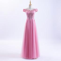 Modell Bilder A Line Abendkleider 2018 Schulterfrei Rosa Spitze Appliques Perlen Lange Günstige Brautkleider von Fabrikanten
