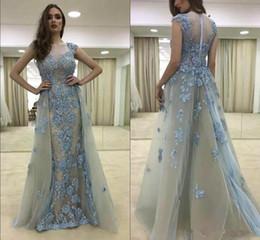 2019 perline di ghiaccio blu 2018 Splendida Ice Blue Nuovi Prom Dresses Capped Sleeve Vintage Pizzo con Perline Gonna staccabile Ragazza Celebrity Pageant Gowns sconti perline di ghiaccio blu
