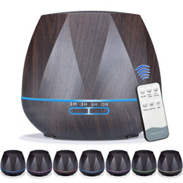 Wholesale Electric Home Diffuser - 550ml Aroma Essential Oil Diffuser Ultrasonic Air Humidifier with Wood Grain electric LED Lights aroma diffuser for home