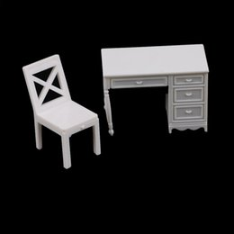 miniature paesaggio Sconti 2PCS / Set Miniature Furniture Sand Modello Plastic Toy landscape Desk + Chair Model Dollhouse