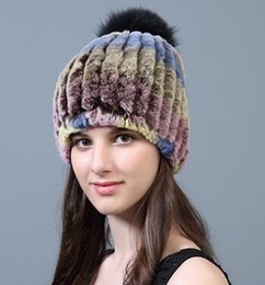 6b27a26be8624f Wholesale- free shipping female Rex rabbit fur grass hat winter warm  earmuffs fox fur ball elastic rabbit fur hat for gift and decor
