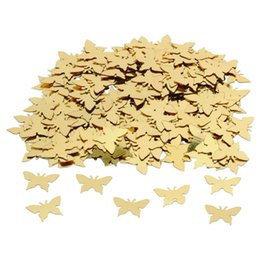 Wholesale Gold Table Confetti - New 350pcs Table Party Scatters Confetti Gold Silver Butterfly Wedding Decor #587