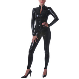 Catsuit con zip online-Classica lattice di gomma Catsuit nero Latex Body Suit zip frontale 0.4MM Spessore