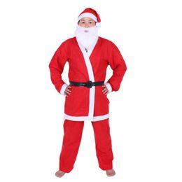 Wholesale Santa Dress Adult - SDFC Adult Christmas Fancy Santa Claus Straight Beard Costume Party Dress New