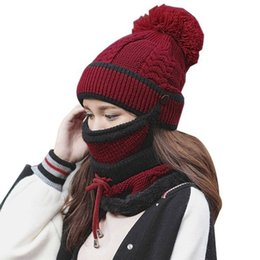 Women Winter Hat Scarf Mask Collar 3Pcs Set Thick Warm Wool Knitted Scarf  Face Protection Pompoms Beanie Cap Windproof Balaclava 3b14dea1d07d