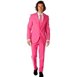 Тонкий костюм подходит розовый онлайн-Fresh Pink Slim Fit Notch Collar Young Men's Party Tuxedos 2017 Elegant One Button Groomsman Wedding Suit ( Jacket+Pants+Tie)