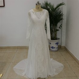 Wholesale Real Samples Wedding Dresses - 2018 Summer Bohemian Lace Wedding Dresses Cheap Sheer Jewel Neck A-Line Hollow Back Boho Beach Long Bridal Gowns Real Sample Custom Made