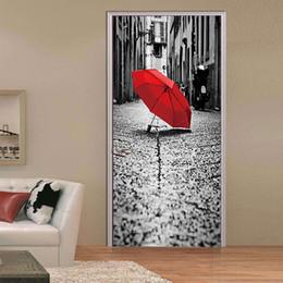 2Pcs Set Creative 3D Eiffel Tower Wall Stickers DIY Mural Bedroom Vinyl  Waterproof Rain Scenery Door Poster Home Decor