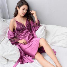 Wholesale Two Piece Sleepwear Women - Xifenni Robe Sets Female Sexy Satin Silk Sleepwear Women Lace V-Neck Embroidery Faux Silk Bathrobes Two-Piece Nightwear X8205