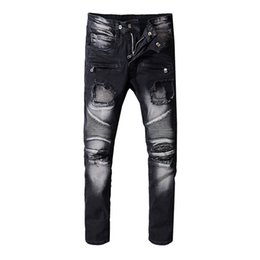 man lower pant Coupons - Balmain New mens Jeans Fashion Designer jeans Distressed Skinny Slim Motorcycle Men's Biker jeans Moto hole beggar Hip Hop men Denim Pants