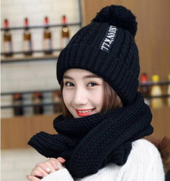 Wholesale Black Raccoons - Furtalk winter women knitted hat and scarf set raccoon fur pom pom beanie hat scarves for girls