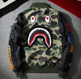 Wholesale Regular Bp - new BP MA1 Bomber Flight jacket Patch shark young mens hip hop streetwear Warm fashion coats Baseball clothing