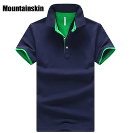 Wholesale Brown Stand - Mountainskin 2018 Solid Mens Polo Shirts Brand Cotton Short Sleeve Camisas Polo Summer Stand Collar Male Polo Shirt 4xl Eda324