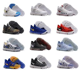 Wholesale Cheap Men Kd Shoes - Cheap KD 10 University Red Mens Basketball Shoes Men 2017 New KD10 Warriors X Home Kevin Durant Sports Sneakers